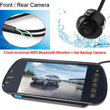 "7"" MP5 Bluetooth Car Rearview Mirror Monitor+360° Rotatable Front/Rear Camera"