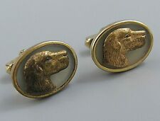 Mens Vintage CUFFLINKS VERY OLD HUNTING DOG Costume Jewelry O84