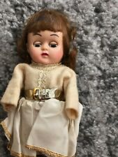Vintage Original Old Plastic Female Doll With Hair & Moving Eyes 1940s? Dressed