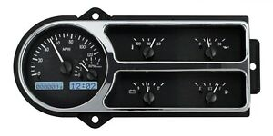 1948-50 Ford F1 Truck Pickup Dakota Digital Black Alloy & White VHX Gauge Kit