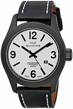 NEW Glycine Men's 3874.91.LB9B Incursore Automatic Black IP Black Leather Watch