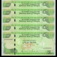 Lot 5 PCS, Ethiopia 10 Birr, 2020, P-New, Banknotes, UNC