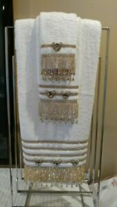 Crystal Embellished White Bath Towel set With Gold Crystals added-BLING