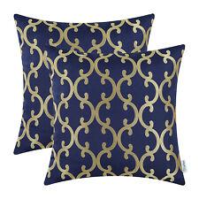 2pcs Navy Blue Gold Covers Pillows Shells Quatrefoil Geometric Chains 45 X 45cm