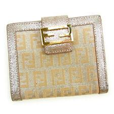 Fendi Wallet Purse Zucchino Beige Silver Woman Authentic Used Y6936