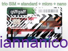UK PAYG GIFFGAFF Trio/Triple SIM (Standard + Micro + Nano) + Free postage + £5