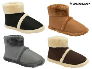 Mens Dunlop Boot Slippers Stylish Warm Soft Comfy Faux Fur Lining Outdoor Sole