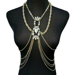 Body Jeweled Necklace Crystal Chest Body Chain Beach Bikini Bra Tops Rhinestone