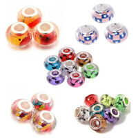 10pcs Mixed Theme Resin Big Hole Rondelle Beads European Charm 14x9mm