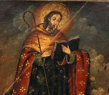 St Bartholomew Painting Oil on Canvas Cuzco Spanish Colonial 19thC + Certificate