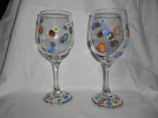 SET OF TWO WHITE WINE GLASSES HAND PAINTED