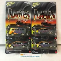4 Car Set Limited 2500 Made * Johnny Lightning FLAMES * BLOWOUT * YA1