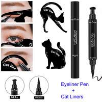 2 in1 Winged Eyeliner Waterproof Makeup Eye Liner + 2Pcs Cat Line Stencils Tools