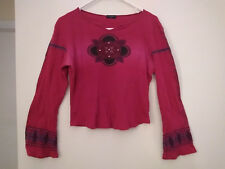 Fang brand long sleeve red embellished top tribal design size M fits Small