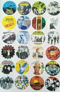Set 2. 24 x PUNK STICKERS Ramones Clash Jam Devo Stranglers blondie etc 45mm
