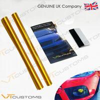 2 Lots 30 x 75cm Golden Yellow Tint Film Headlight Tail light Car + SQUEEGEE
