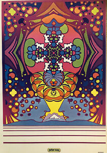 """Peter Max Psychedelic 2000 Light Poster Authentic Vintage 1971, 11x16"""" Hippie 18"""