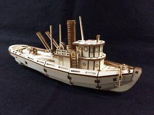 Laser Cut Wooden Tug Boat 3D Model/Puzzle Kit