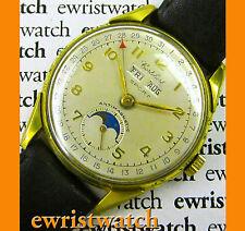 Vintage 40's Cortebert Sport Triple Date Moonphase 35mm Original Sub-Second Dial