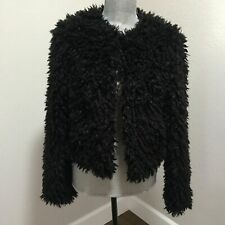 UGG Australia Lorrena Black Faux Fur Cropped Jacket Coat Womens Size S NWT $295