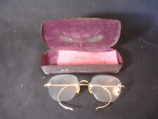 Old Vtg Eye Glasses Spectacles 10/12 Gold Filled Case Decorative Nose Piece