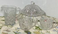 VINTAGE Clear Cut glass Syrup  sugar creamer covered butter dish GREAT SET