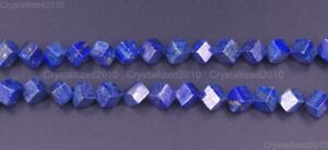 "Natural Lapis Lazuli Gemstone Diagonal Perforation Cube Beads 6mm 8mm 10mm 15.5"""