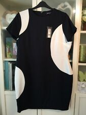 BB62 Marks & Spencer plus Sz 20 Bleu Marine & Blanc Spot Smart Shift Dress Neuf avec étiquette £ 45