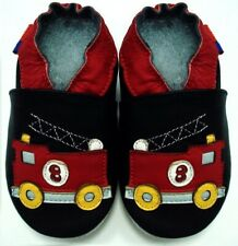 soft sole leather baby shoes toddlers firetruck black 24-36 months minishoezoo