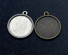 10-25mm Tibetan silver Round Pendant Trays Cabochon Base Setting 10-100pcs