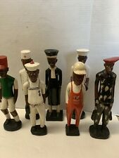 African Folk Art Painted Wood Sculpture Figurines (7)Piece
