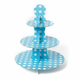 Blue Polka Dot Baby Shower Cupcake Plates Kids Party Tableware Display Birthday