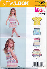 NEW LOOK SEWING PATTERN 6465 GIRLS 3-8 EASY CROSS OVER BACK TOP, SKIRT & SHORTS