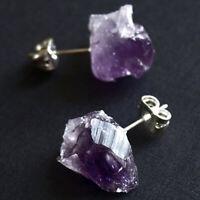 Women  Raw Amethyst Earrings Natural Crystal Quartz  Ear Stud Irregular Stone