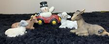 Nativity Figurines 2 Sheeps, 1 Donkey, 1 Ox And 1 Snowmen Mint Condition