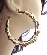 GOLD BAMBOO EARRINGS 2.5 INCH HOOP RETRO HOOPS GOLD TONE BAMBOO HOOP EARRINGS