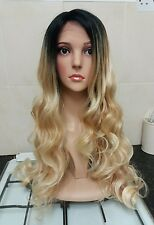 Blonde Human Hair Wig, Real Hair, side fringe, Ombré, Red tones, Lace Front