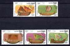 Bateaux Cambodge (16) série complète de 5 timbres oblitérés
