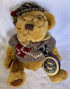 Vintage Plush SHERWOOD Bear 1996 Brass Button collection #9982301 Teddy