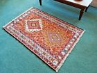 PERSIAN SUMAK KILIM RUG, Silk & Cotton, Tribal, Handcrafted, 3.5' by 5'