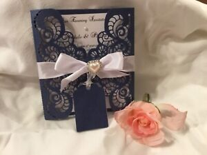 WEDDING INVITATION NAVY PEARL AND WHITE LINEN PERSONALISED  LASER CUT