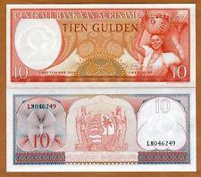 Suriname / Surinam, 10 Gulden 1963, P-121 UNC > Woman with the fruit basket