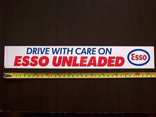 "ESSO MOTOR OILS ""Drive With Care"" Vintage 1980s Sticker Decal ESSO UNLEADED"
