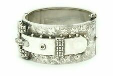 Antique Victorian Sterling Silver Buckle Bangle Bracelet Hinged Ivy Design 1863
