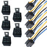5Pack Car Automotive 12V 40A AMP SPST Relay & Socket Harness 4 Pin 4P 4 Wire DIY