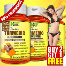 ORGANIC TURMERIC BIOPERINE Capsules Detox Anti-Aging Antioxidants Weight Loss