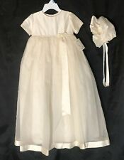 Couture Fatima Christening Gown Size 0-6 MOs, Ivory, Matching Bonnet, Silk NWD