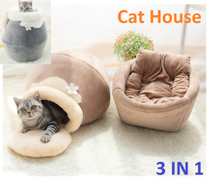 3 in1 Pet bed for Cat Dog Soft Nest Kennel Cat Bed House Pot Shaped Cave House