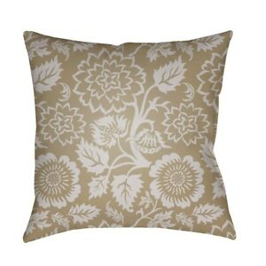 Moody Floral by Surya Poly Fill Pillow, Tan/Lilac, 18' x 18' - MF027-1818