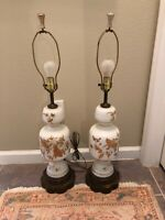 2 Vintage Hollywood Regency White Satin Glass Table Lamps Gold Leaf Floral Pair